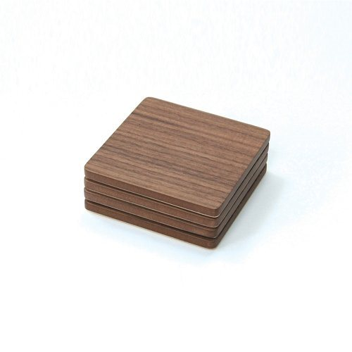 4 Coasters - Walnut Veneer